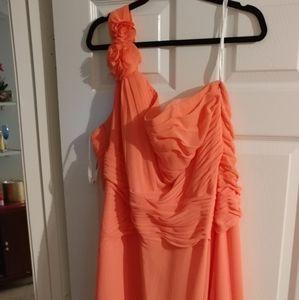 David's bridal Coral (papaya) bridesmaid dress